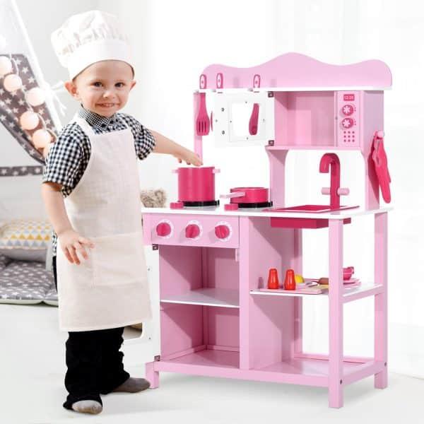 Cozinha de Brincar de Madeira Cor de rosa